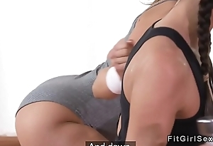 Fitness lesbians fingering and licking