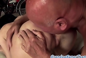 Amateur eurobabe gets banged by oldmans horseshit