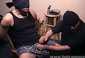 Sexy Blindfolded Lay out Serviced by Older Man