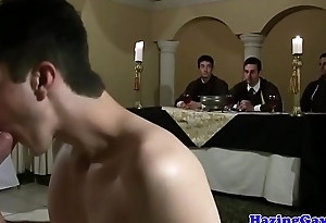 Real twink assfucked after sucking hard cocks