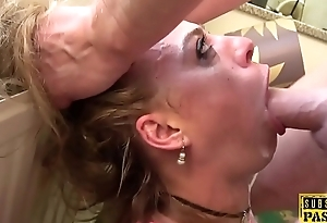 European sub slut slapped during rough anal