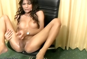 Ass fingering ladyboy gets her shecock messy and squirts cum