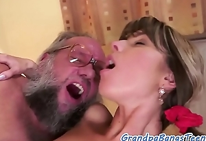 19yo cutie fucked and pussylicked by grandpa