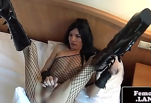 Solo lingeried femboy toys her tight arse