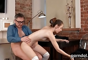 Kissable schoolgirl gets teased added to shagged by her older teacher