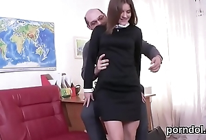 Erotic schoolgirl was tempted with an increment of fucked by her older teacher