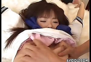 Sexy irritant Asian babe tied up and toy fucked hard