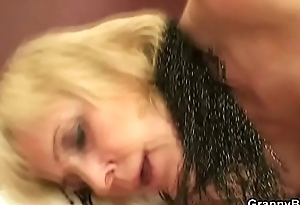 Old granny prostitute takes it from dorsum behind