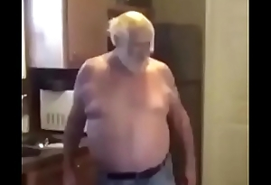 Old man forces young brunette to suck his dick